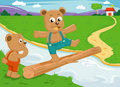 The bear brother balance on wood bridge Stock Images