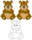 Bear brown sitting and smiling color and black and white outline vector illustrations Stock Images