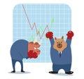 Bear and bull cartoon ready to fight in stock market Royalty Free Stock Photo