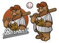Bear cartoon baseball player