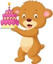 Bear cartoon with birthday cake