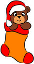 Bear in Christmas sock Royalty Free Stock Images