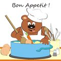 Bear cook teddy soup humorous illustration Stock Image
