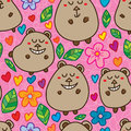 Bear cute stand seamless pattern this illustration is drawing standing with colorful natural in pink color background and Royalty Free Stock Photo