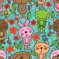Bear dog cat mouse rabbit frog green seamless pattern