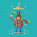 Bear Drummer Circus Theme ,Vec...