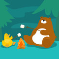 Bear and duck grill marshmallow at campfire Royalty Free Stock Photo