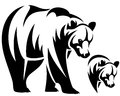 Bear emblem walking and animal head black and white outline Stock Photo