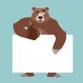 Bear and empty banner. Wild animal and blank. Beast and clean wh Royalty Free Stock Photo
