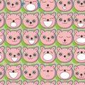 Bear Faces Seamless Pattern_eps Royalty Free Stock Photo