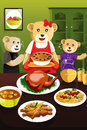 Bear family having dinner a vector illustration of cute mother with her kids Stock Photos