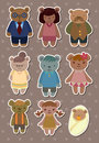 Bear family stickers Stock Image