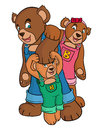 Bear family wear jumper on a isolated background Stock Photography