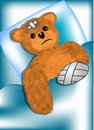 Bear fell ill injured teddy bear bandage Stock Photo