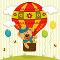 Bear flies on air balloon teddy vector illustration Stock Photography