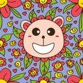 Bear flower cute cartoon seamless pattern