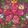 Bear flower petal line drawing seamless pattern this illustration is abstract cat like not mustard head sticker with pink color Stock Photography