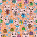Bear gift lucky star seamless pattern illustration vertical color orange blue graphic element Stock Photo