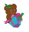 Bear with a gift for new year. Stock Photos