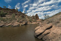 Bear gulch lake pinnacles national park california with rocks and clouds on background Stock Photography