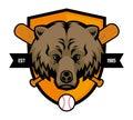 Bear head baseball mascot