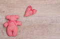 Bear and heart of cloth red white checkered Royalty Free Stock Photography