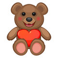 Bear and heart sitting toy with big red glossy Stock Images
