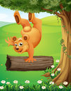 A bear at the hilltop playing near the tree illustration of Royalty Free Stock Photos
