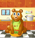 A bear holding a bowl of vegetables inside the kitchen illustration Stock Photography