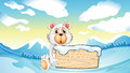 A bear holding an empty wooden board at the snowy mountain illustration of Royalty Free Stock Photos