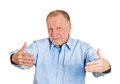 Bear hug closeup portrait senior mature man motioning with arms to come and give him a isolated white background positive human Stock Photos