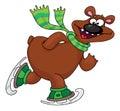 Bear on ice skates Royalty Free Stock Images