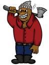 Bear Logger with Axe Cartoon Character