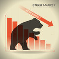 Bear market concept presents stock market with bear in front of Royalty Free Stock Photo