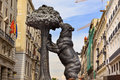 Bear and mulberry tree statue symbol madrid spain el oso y el madrono of puerta del sol gate of the sun most famous square Stock Photos