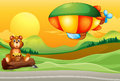 A bear near the road and an airship illustration of Royalty Free Stock Images