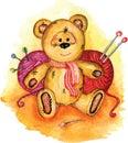 Bear painted in watercolor