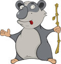 Bear panda cartoon with a bamboo stick and with red language Royalty Free Stock Photo