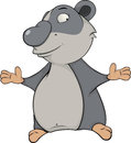 Bear panda cartoon lovely grey with the dissolved hands Stock Photo