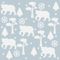 Bear Pattern with pines, spruce tees and snowflakes.