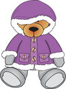 Bear in purple coat Royalty Free Stock Image