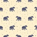 Bear purple and pastel pink tribal seamless vector patterns. Royalty Free Stock Photo
