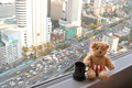 A bear sitting next to the window with blurred traffic congestion Royalty Free Stock Photo