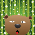 Bear and snow with bamboo background Royalty Free Stock Image