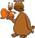 Bear and squirrel cartoon illustration of wild animals Royalty Free Stock Photos