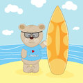 Bear with surfboard in a beach.