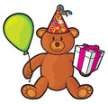 Bear teddy toy with gift box birthday hat and balloon Royalty Free Stock Photo