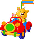 Bear in Toy Car Royalty Free Stock Photo