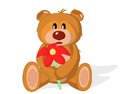 Bear toy with flower on a white background vector illustration Royalty Free Stock Images