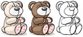 Bear toy in two colors and outline vector illustration with Stock Images